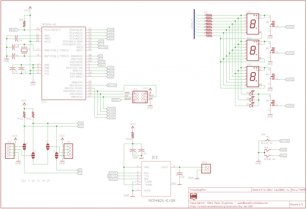 schematic DigiPot Rotary Encoder Digital Potentiometer
