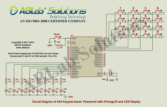 4X4 Keypad based Password with ATmega16 and LED Display