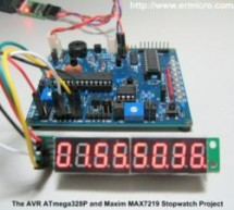 Build your own stopwatch using Maxim MAX7219 Serially Interfaced, 8-Digit LED Display Drivers