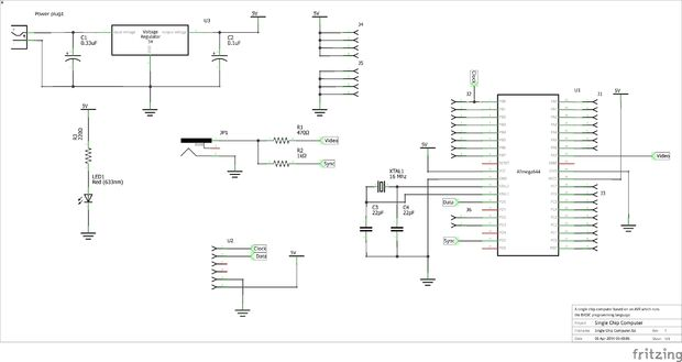 Circuit Single Chip Computer Easy to Produce AVR BASIC Computer