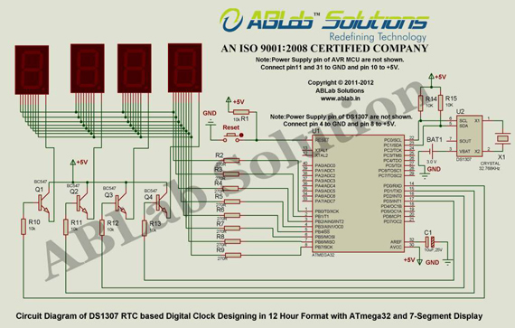 DS1307 RTC based Digital Clock Designing in 12 Hour Format with ATmega32 and 7-Segment Display