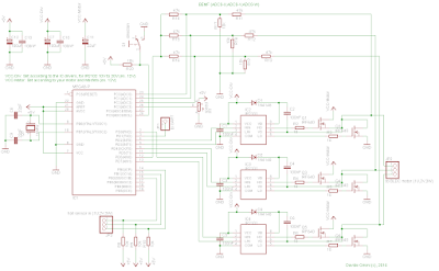 Schematic A simple brushless sensorless motor driver for AVR Atmega
