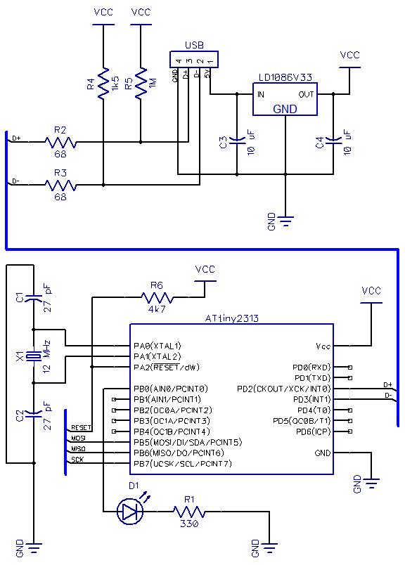 Schematic AVR ATtiny USB Tutorial Part 2