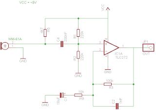Schematic AVR Atmega audio input RMA using FFT Radix-4