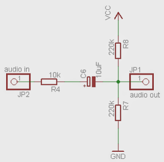 Schematic AVR Atmega audio input root mean square (RMS)