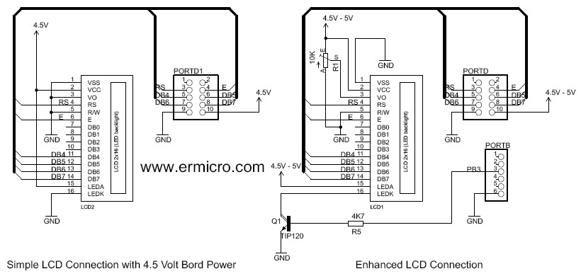 Schematic AVR LCD Thermometer Using ADC and PWM Project