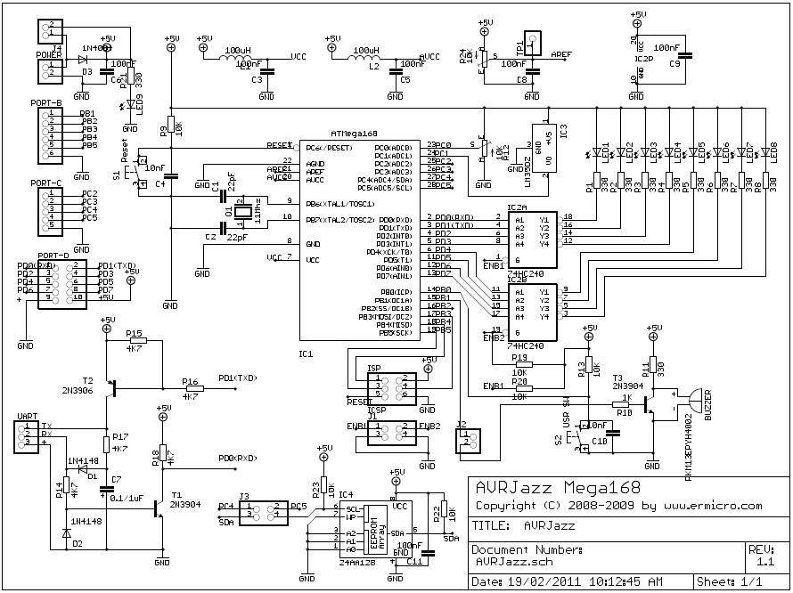 Schematic AVRJazz Mega168-328 Learning and Development Board