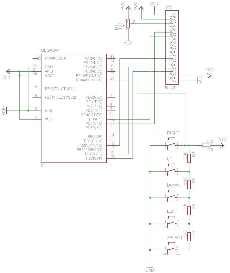 Schematic An AVR Atmega LCD Menu builder library