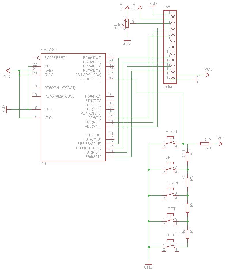 Schematic An AVR Atmega LCD Menu builder library