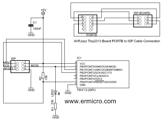 Schematic Atmel AVR ISP Microcontroller Programmer Project