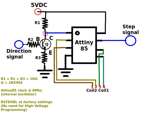 Schematic Attiny85 As a Step-Dir Stepper Motor Controller