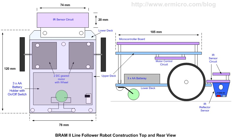 Schematic Build Your Own Microcontroller Based PID Control Line Follower Robot (LFR) – Second Part