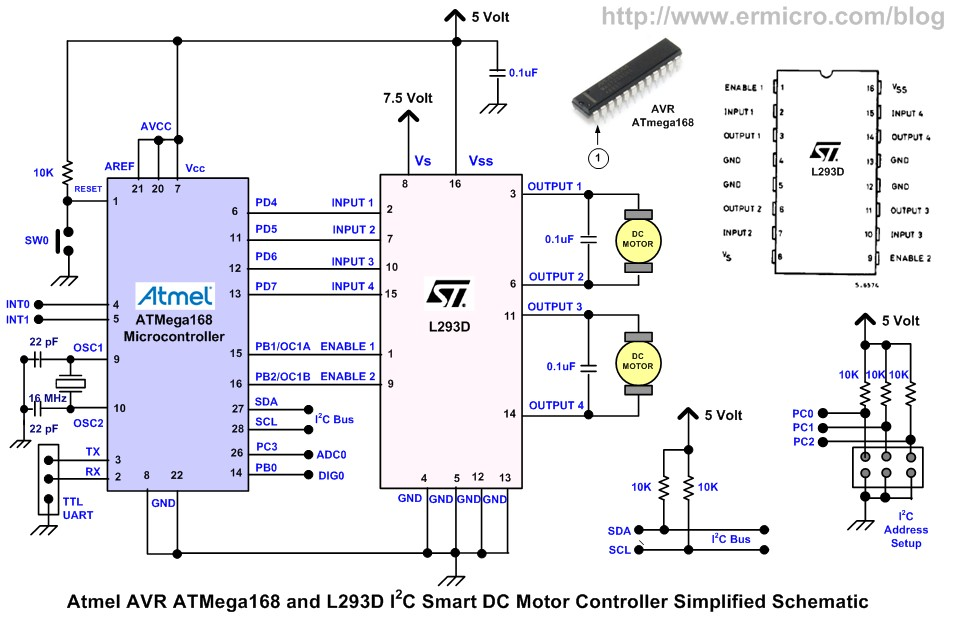 Schematic Building the I2C Smart DC Motor Controller with Atmel AVR Microcontroller – Part 1