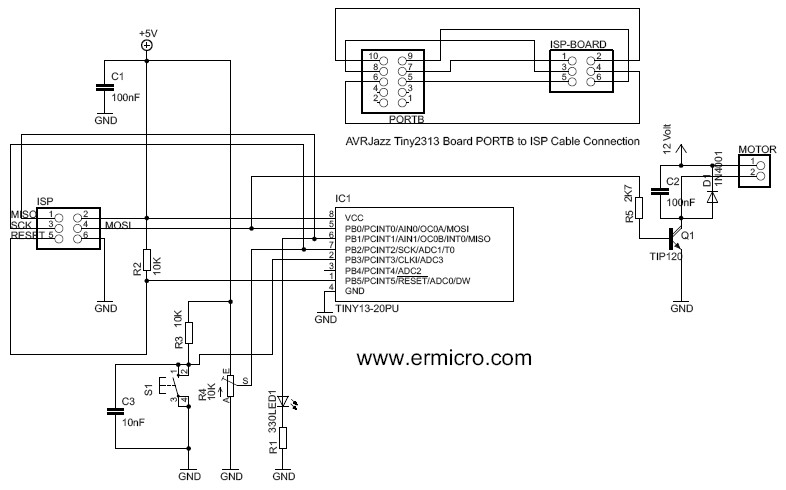 Schematic Controlling DC motor with AVR ATtiny13 PWM and ADC Project