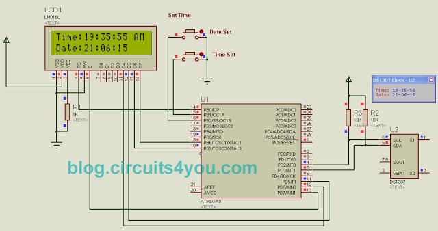 Schematic DS1307 RTC Interfacing with AVR microcontroller