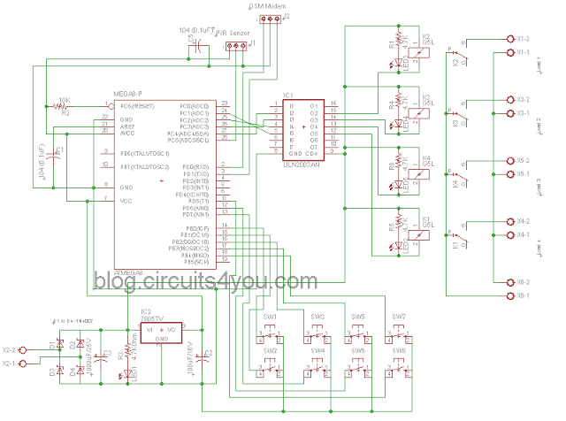 Schematic GSM Based Home Automation
