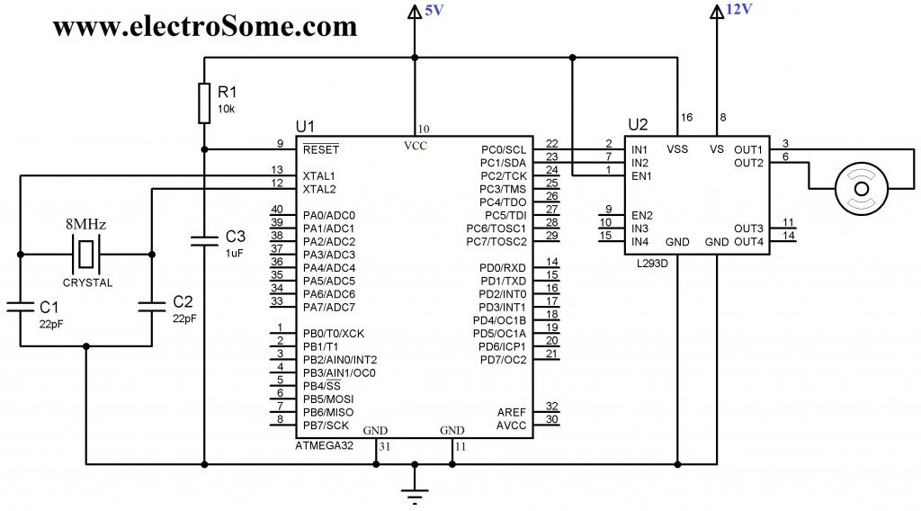 Schematic Interfacing DC Motor with Atmega32 Microcontroller