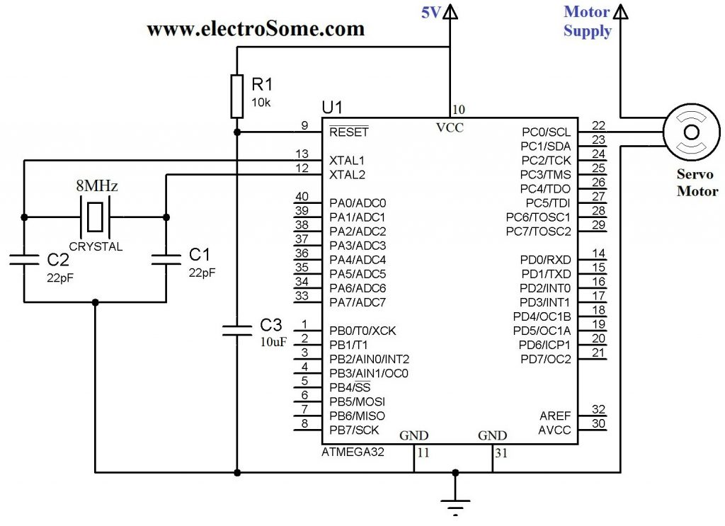 Schematic Interfacing Servo Motor with Atmega32 Microcontroller