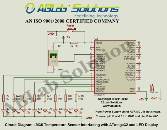 Schematic LM35 Temperature Sensor Interfacing with ATmega32 and LED Display