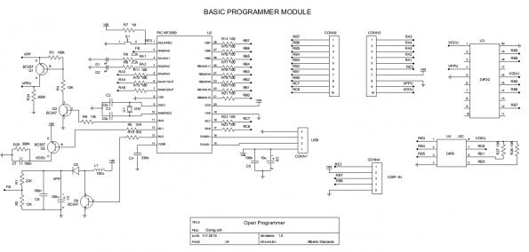 Schematic Open Programmer – USB programmer for PIC, EPROM, ATMEL, SPI