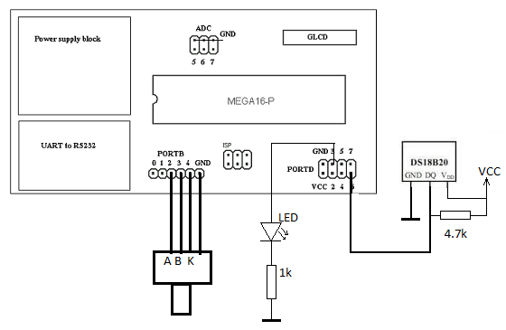Schematic Temperature sensor with time and date display on graphical LCD