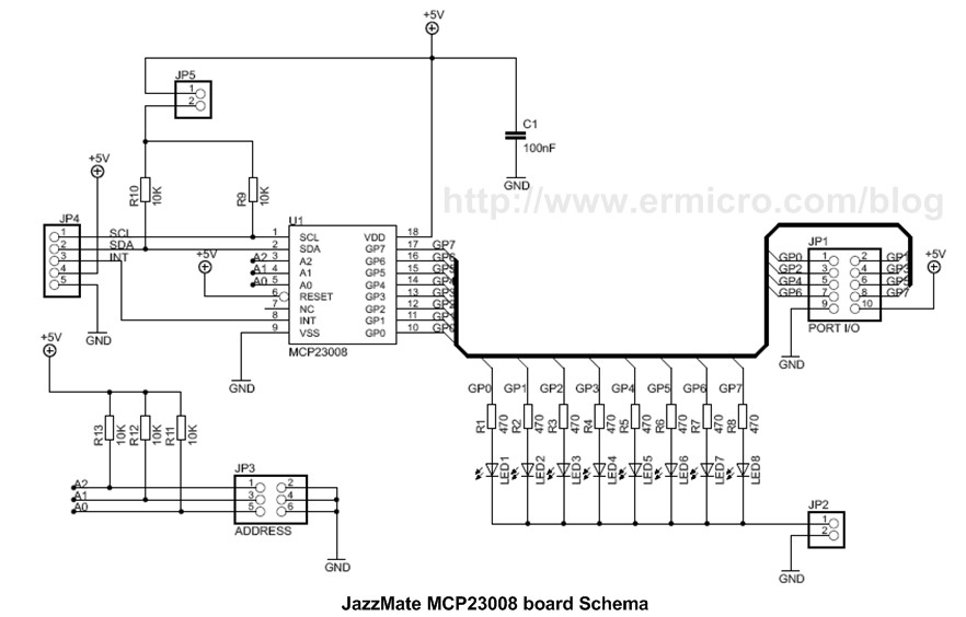 Schematic Transforming your AVR Microcontroller to the I2C or TWI Slave I-O Expander Project