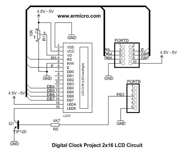 Schematic Using Maxim DS1307 Real Time Clock with Atmel AVR Microcontroller Using Atmega32