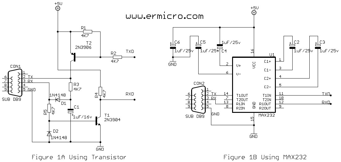 Schematic Working with AVR microcontroller Communication Port Project