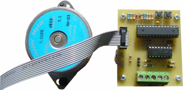 Stepper motor control with an ATmega8 microcontroller