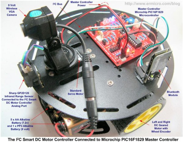 Telepresence Robot using Microchip PIC16F1829 and Atmel AVR ATmega168 I2C Smart DC Motor Controller Microcontroller – Part 2