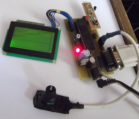 Temperature sensor with time and date display on graphical LCD