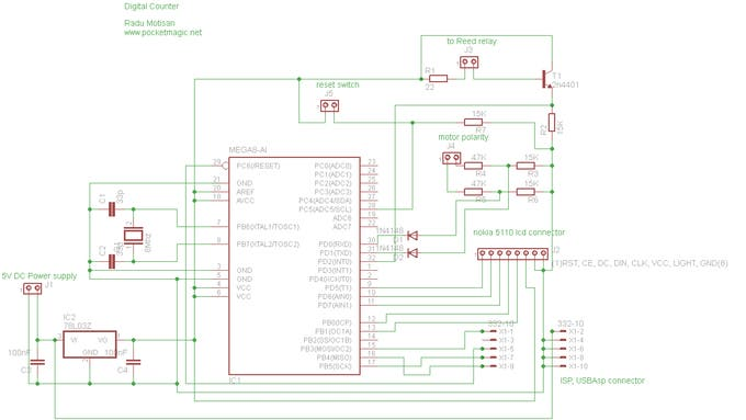 Schematic Coil Winding machine counter with Atmega8 and Reed relay