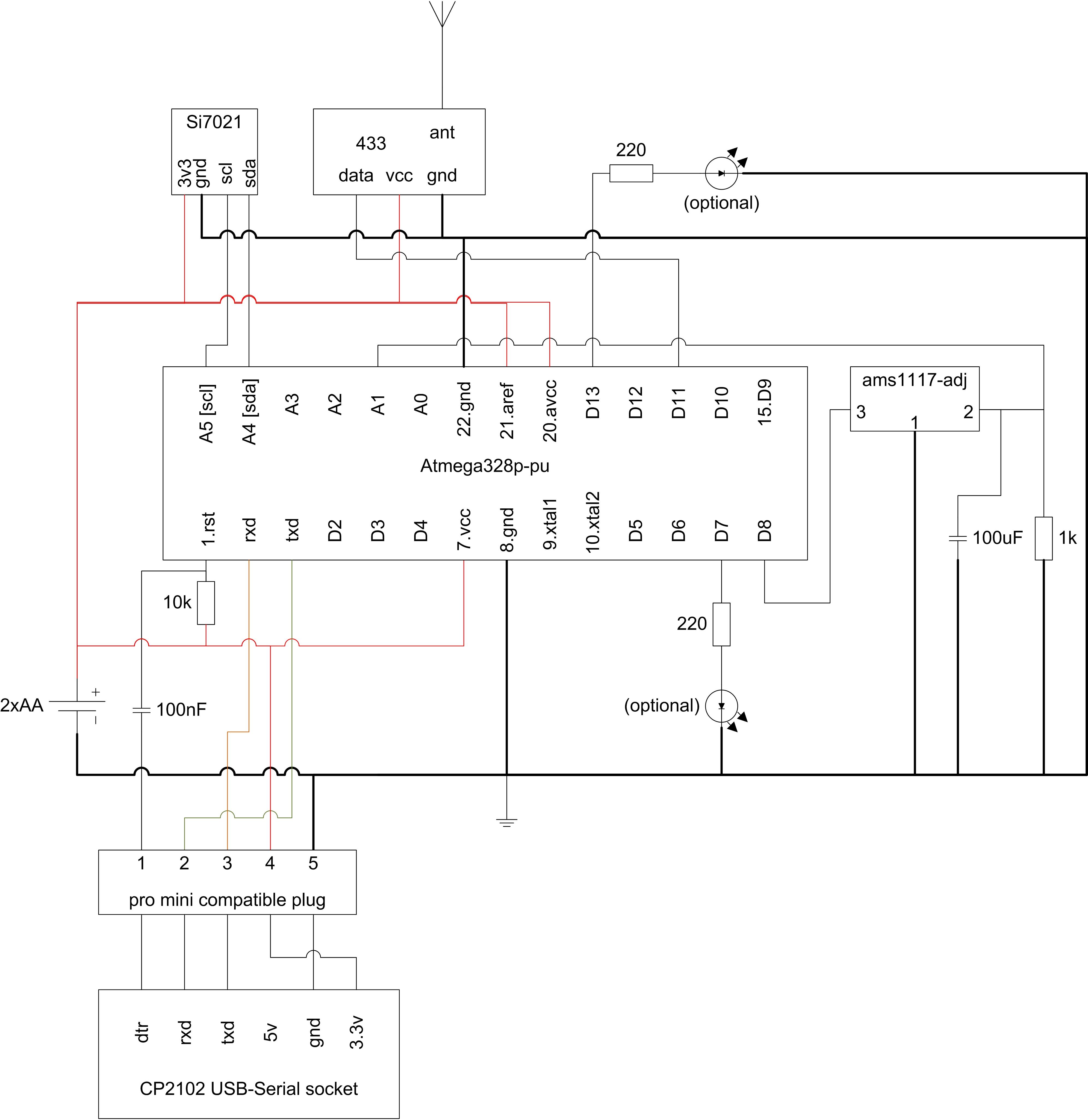 Schematic Make your own remote temperature-humidity sensor
