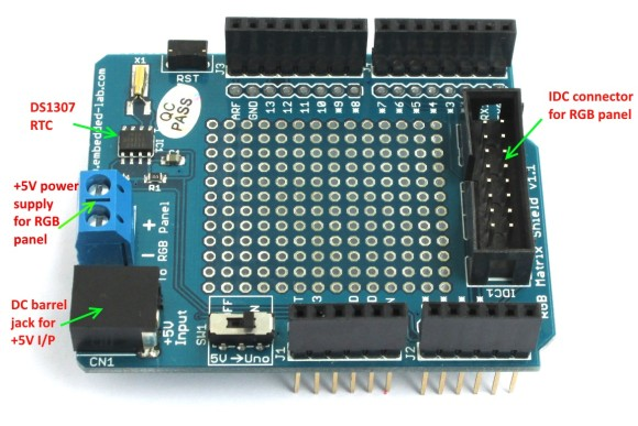 16×32 RGB Matrix Panel Driver Arduino Shield