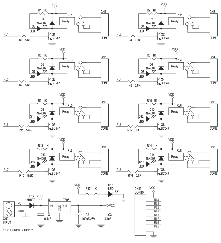 Schematic 8 Channel Relay Board with onboard 5V regulator