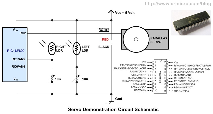 Schematic Basic Servo Motor Controlling with Microchip PIC Microcontroller