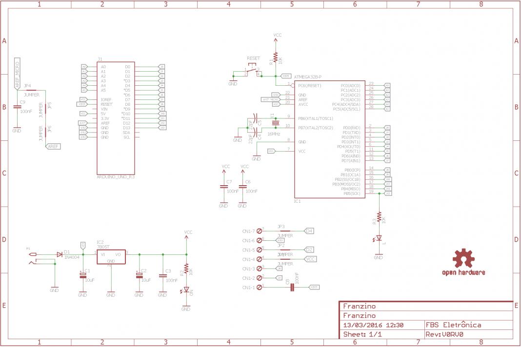 Schematic Franzino is a low cost Arduino standalone board