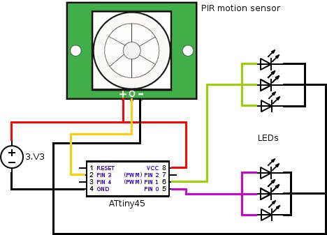 Schematic Physical computing with ATtiny