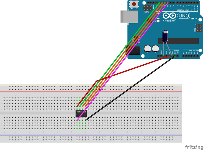 Schematic Programming ATtiny85 with Arduino Uno