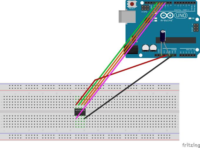 Schematic Programming ATtiny85 with Arduino Uno