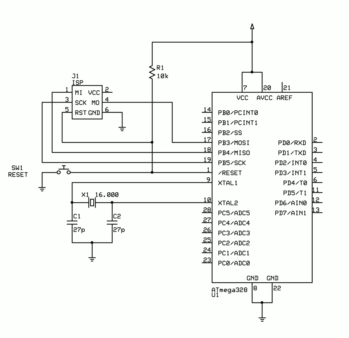 Schematic Reducing Arduino Power Consumption