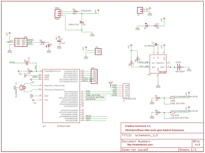 Schematic Tinker's Word Clock - REVISITED! NOW 110% more AWESOME