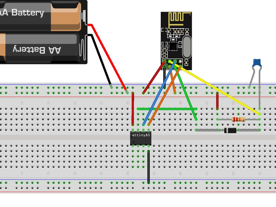 Schematic nRF24L01+ with ATtiny85 3 Pins