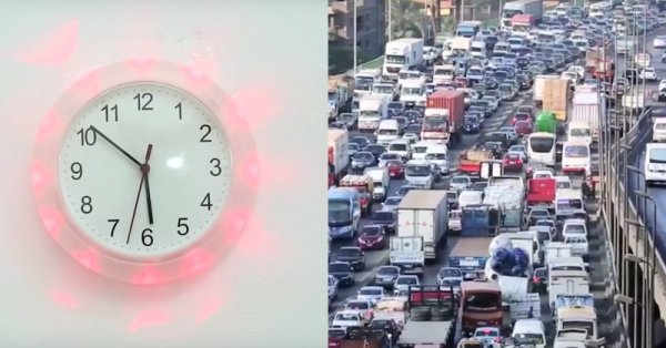 Traffic status on a wall clock