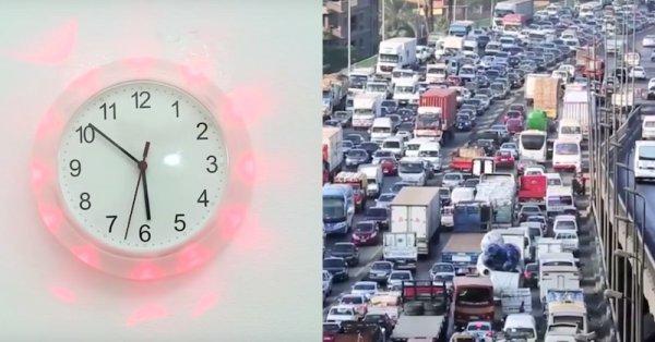 Traffic status on a wall clock