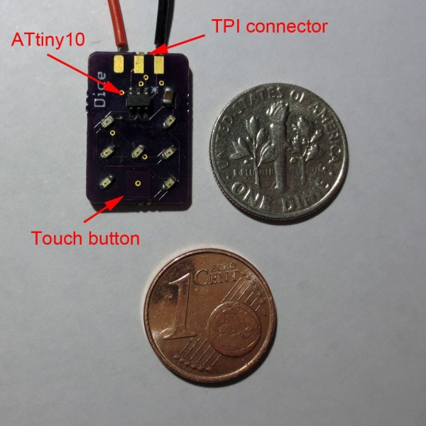 DICE10 – A miniaturized electronic die based on ATtiny10