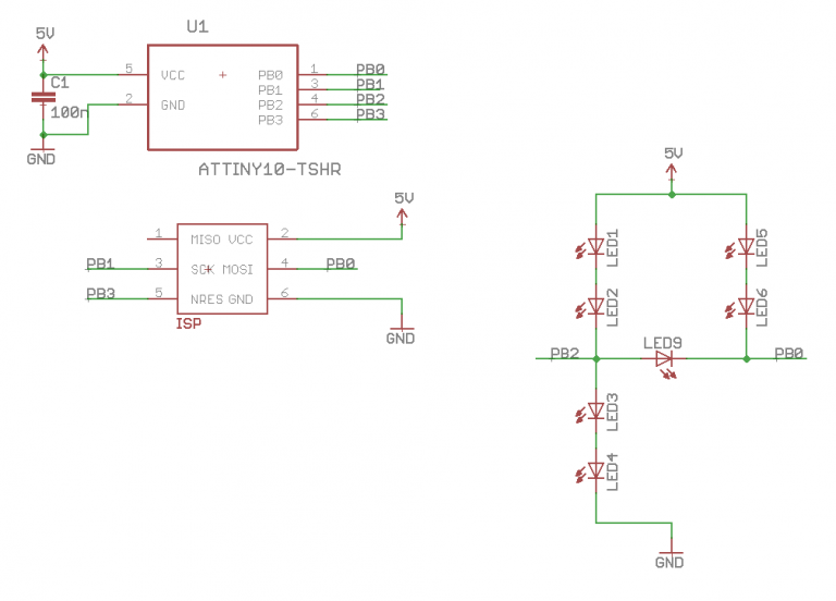 Schematic DICE10 – A miniaturized electronic die based on ATtiny10
