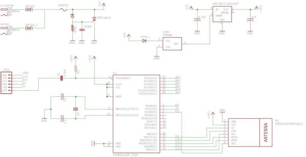 An NRF24L01+ and FTDI Ready Atmega 328P-PU (3.3V, 500 MA) Microcontroller With Dual Power Capability, Undervoltage, Hysteresis, and Thyristor-Crowbar Overvoltage Protection Schematic
