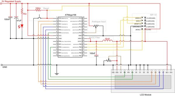 Analogue to Digital Conversion on an ATmega168 Schematic