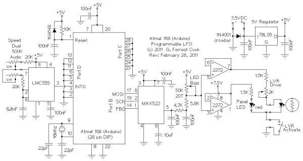 Arduino LFO Waveform Generator V2 Schematic
